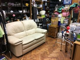 Beautiful soft cream leather 2 seater sofa