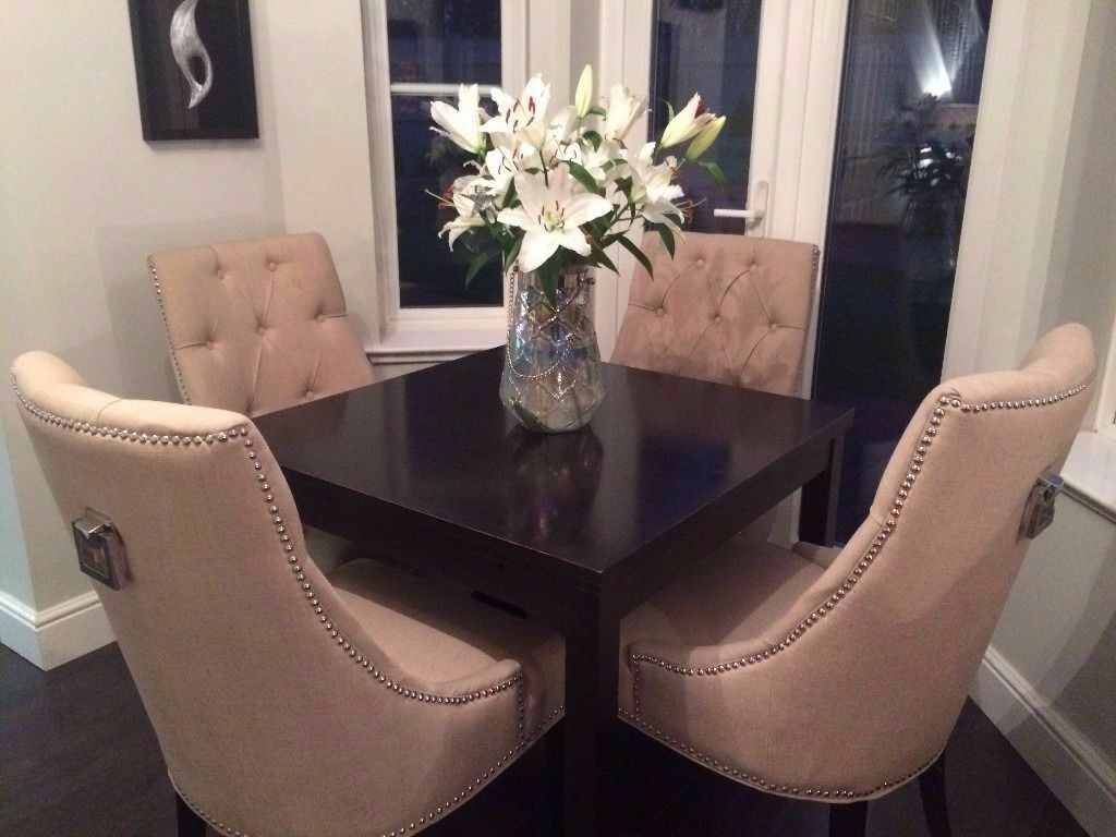 4 Cream Fabric Winchester Button Back Dining Chairs With Chrome Features
