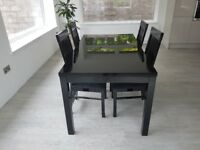 Black Gloss Dining Table and 4 Chairs for sale