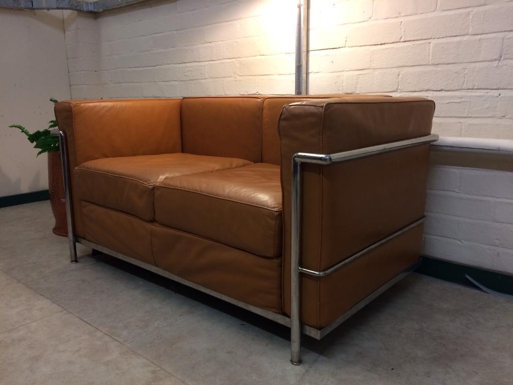 Le Corbusier replica LC2 Le petite sofa in tan leather | in ...