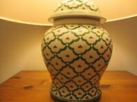 Table Lamp - Green design with Cream Shade