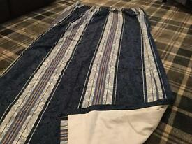 Pair of Professionally Made Curtains Fully Lined with Tie Backs and Material for Pelmet (Navy)