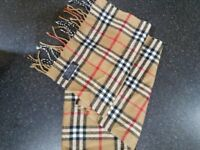 BURBERRY SCARF 100% LAMBSWOOL BEIGE NOVA CHECK MADE IN ENGLAND