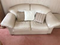 Cream leather living room sofa set