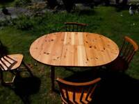 Farmhouse pine extending table and four chairs