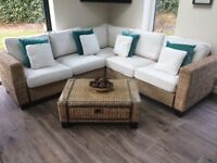 Rattan sofa (2.3m x 2.3m) with matching chair, coffee table ( with drawer) and lamp table