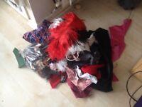 Fabric scraps, suede bits, ostrich feathers