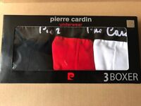 Brand New Genuine Pierre Cardin Mens Boxer Shorts Trunks Size L 3Pack,RED,WHITE,NAVY 100sales