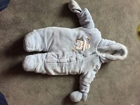 Baby boys blue all in one coat 3-6 months