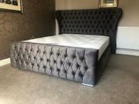 Double plush velvet wingback bed