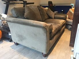 Sofa Parker Knoll Jasmine Grand 4 seater in Luxury Dark Olive fabric and Walnut feet