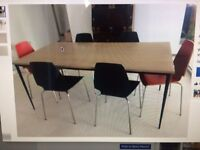 Crate and Barrel dining table and 6 IKEA chairs.