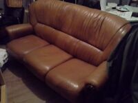 Light brown leather 3 seater sofa