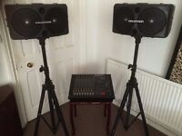 Compact PA System - 8 channel mixer and two speakers with stands and cases