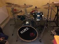 MAPEX M SERIES WITH 9 CYMBALS, WOODBLOCK AND COWBELL