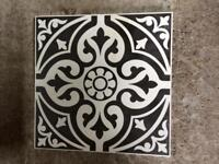 Black patterned ceramic floor tiles 4m2