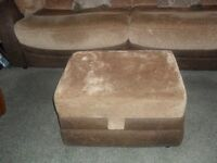 Large 3/4 seater sofa. Fawn fabric and Brown leather. Storage footstool. 2 cushions