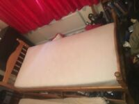 solid pine bed with foam mattress delivery available