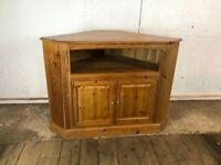 Solid Wooden Pine Corner TV Cabinet Cupboard with Doors