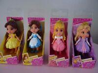 4-Disney Princess Mini Toddler Dolls Rapunzel Belle Aurora Belle New