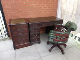 A Chesterfield Green Leather Inlay Mahogany Twin Pedestal Desk Set
