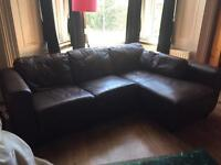 L shaped 3 seater brown leather sofa - v good condition