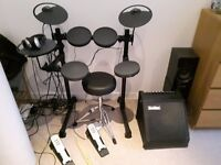 Yamaha DTX 400K with stool, sticks, headphones and SubZero DR-30 monitor