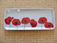 Poppy Design Red White Plastic Rectangular Canape / Starter / Party Snacks / Sandwich Tray Platter
