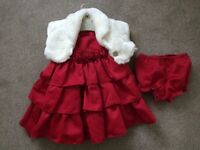 Marmellata red dress plus F+F white fur bolero