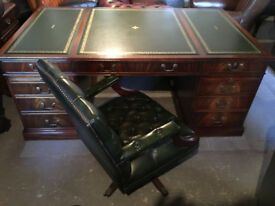 Pedestal desk with green leather inlaid top...optional Chesterfield office chair