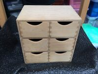 Small set of wooden mini drawers – for garage / hobbies / jewellery / makeup / sewing