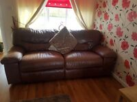 Brown leather electric recliner sofa 3 seater and 2 seater