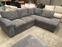 Brand new jumbo chord grey corner sofa