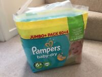 Pampers Baby Dry Size 6+, Brand New 64 nappies