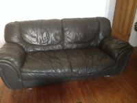 Large leather sofa , chairs and pouf