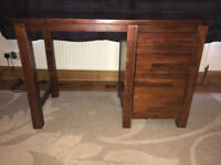 Mahogany Student Desk with 2 drawers and deep hanging file storage drawer