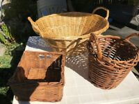 three wicker baskets. Containers