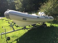Rib boat 5.2m hardly used with 90hp Honda engine