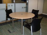 BEECH EFFECT MEETING TABLE - 4 CHAIRS FREE IF WANTED
