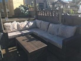 Brown / Beige L shaped rattan corner sofa - Outdoor garden patio set - 6-7 seats - delivery