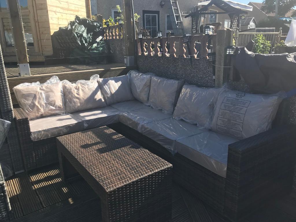 Brown / Beige L shaped rattan corner sofa - Outdoor garden ...