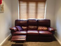 OXBLOOD LEATHER SOFA - RECLINING 3 SEATER - GREAT CONDITION NOW ONLY £500