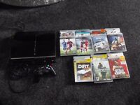 PS3 60GB, CONTROLLER AND 14 GAMES