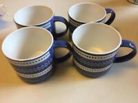 BNWT Next 4 Pack Scandi Mugs blue and white