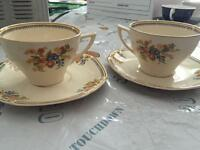 Vintage set of 6 tea cups and saucers