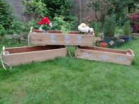 SOLID OAK PLANTER TROUGHS,ROPE HANDLES MAIDSTONE £40 each