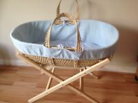 Baby Moses basket & stand with blue & white cover set