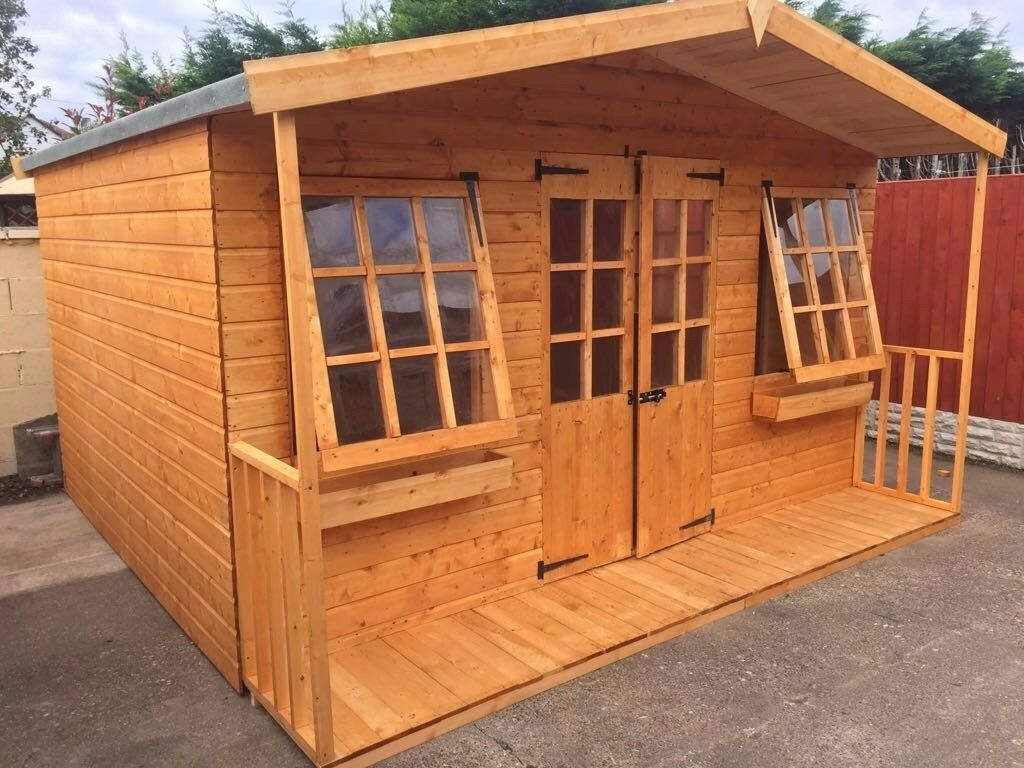 new 12x7ft apex 2 veranda tg timber assembled summer house shed