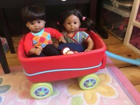 American Girl Bitty Baby Twin Sets with rolling carrier / wagon or double stroller (your choice)