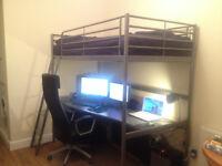 Loft bed with desk top SVÄRTA